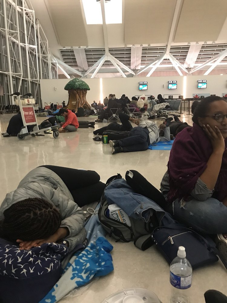 People Sleeping On The Floor In Toronto Airport After We