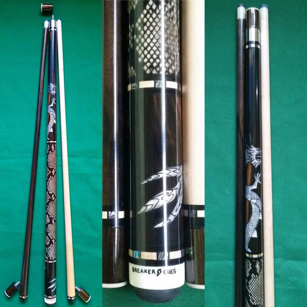Ebony with dragon design snake skin wrap philippines for Pool cues design your own