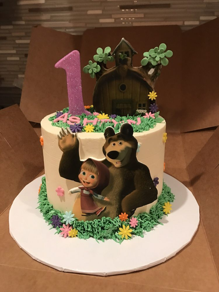 Happy 1 Year birthday cake Masha and the bear aka Masha y