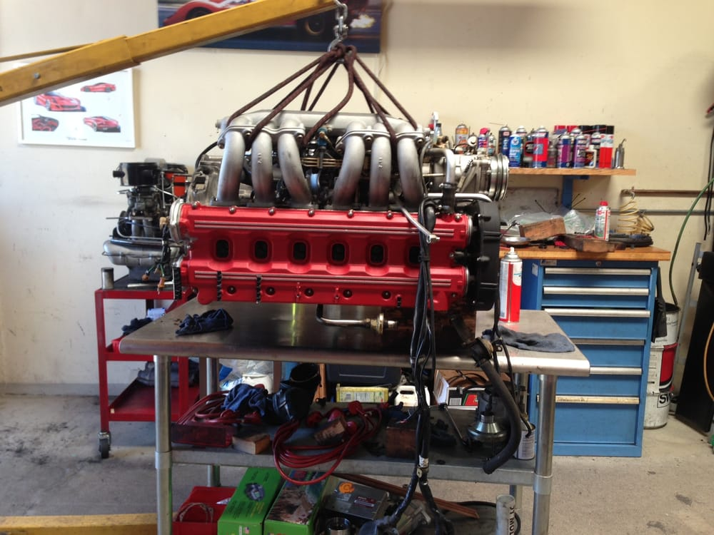Testarossa engine out for service and transmission rebuild for Bay motors san mateo