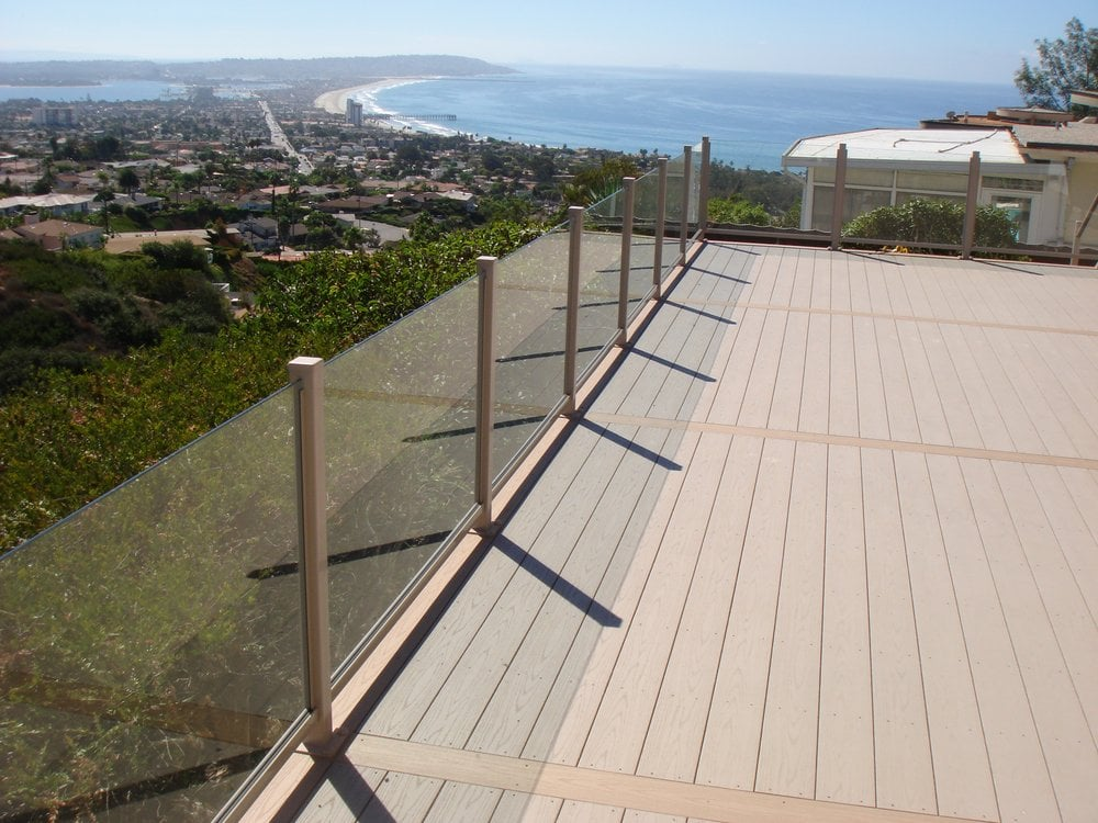 Outdoor Panels For Decks ~ Azek deck with glass panel rail yelp