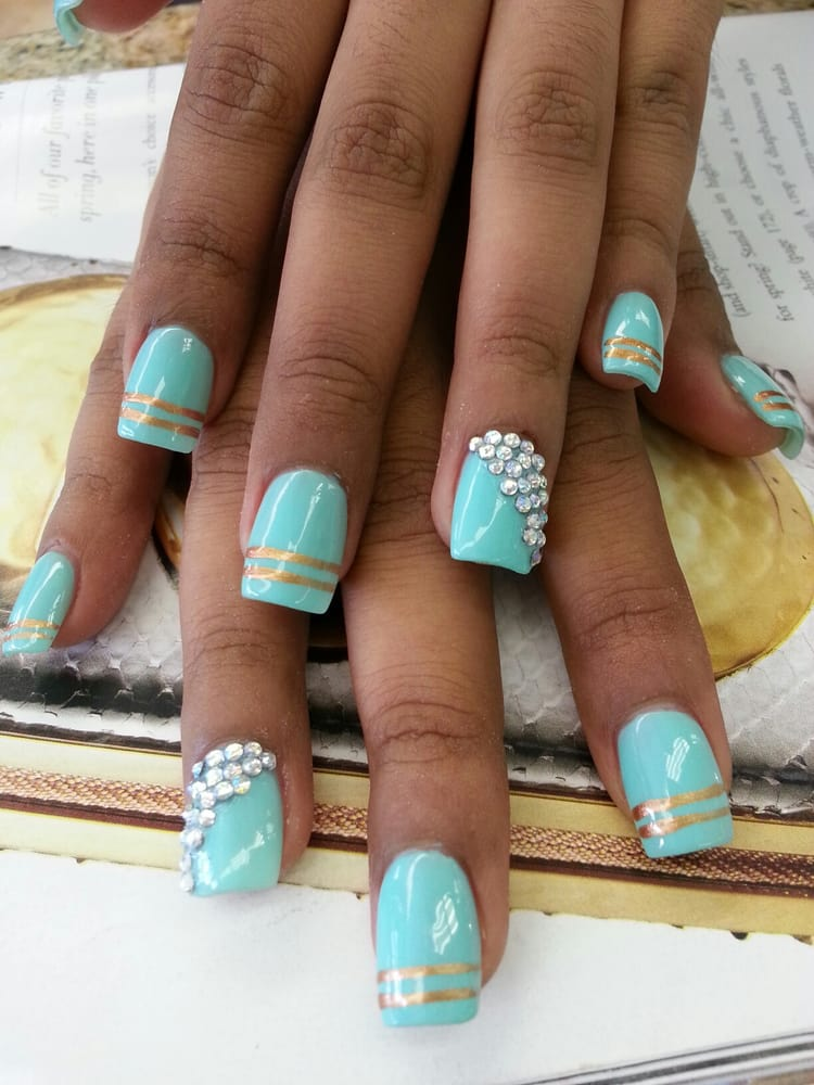 Tiffany blue gel nails with diamond design yelp photo of tina nails los angeles ca united states tiffany blue gel prinsesfo Gallery