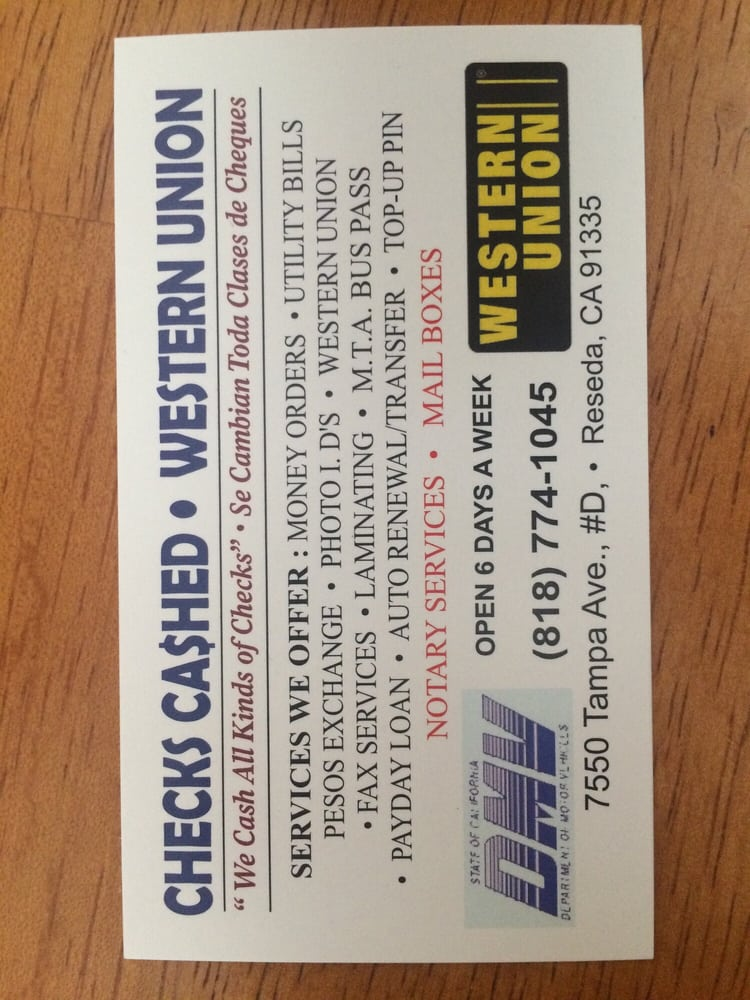 Checks Cashed - Western Union - Mailbox Centers - 7550 Tampa Ave ...