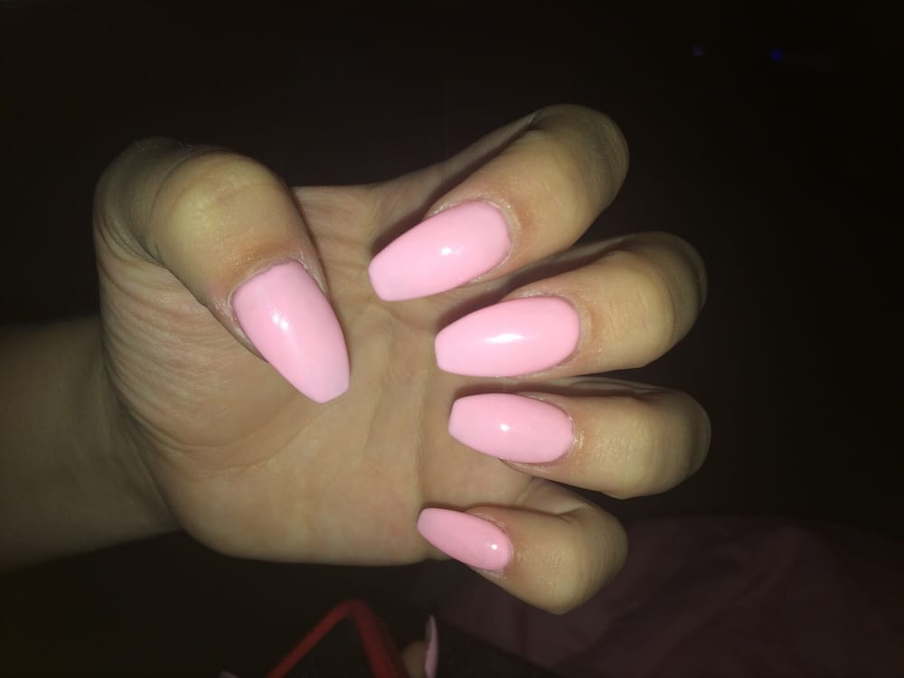 Nail Tips With Clear Powder And Pink Gel Shellac Amy Was The Nail