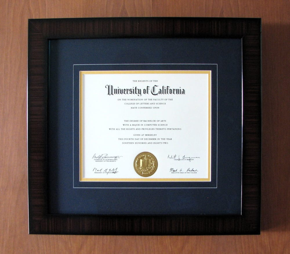 Tracy did a beautiful and classy framing job for my Cal diploma! - Yelp