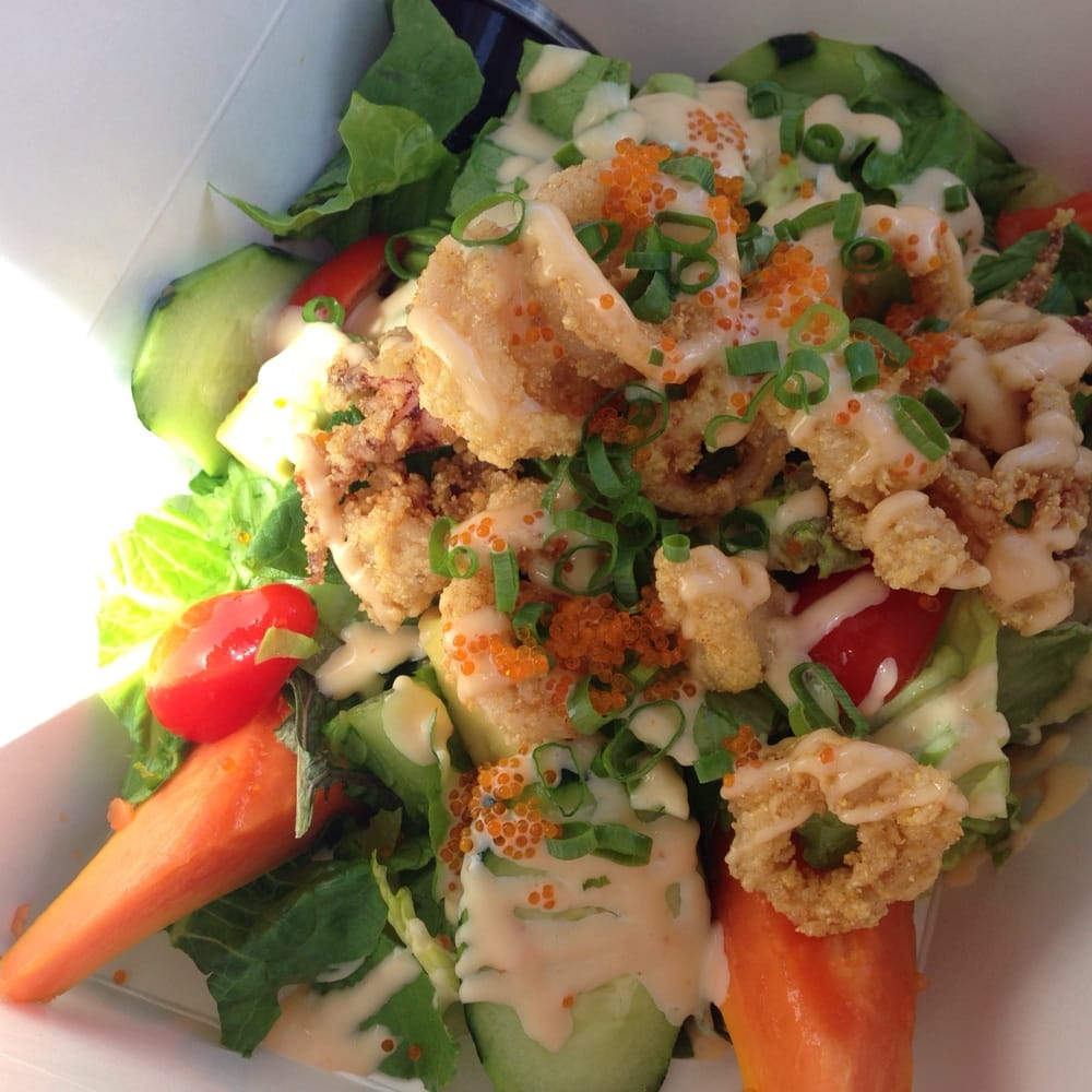 Crispy Calamari with papaya salad. Even my kids enjoyed ...