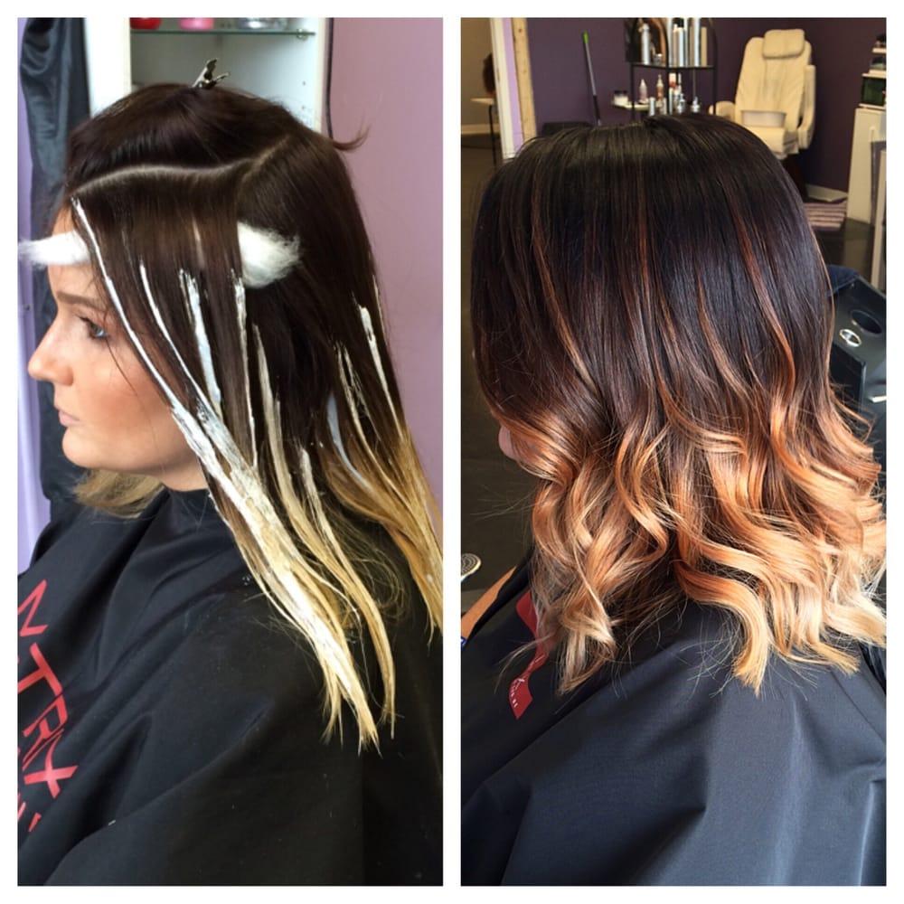 Medium brown hair color with caramel highlights