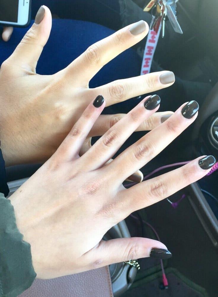 My friend got a matte nail color, while I got a full set acrylic ...