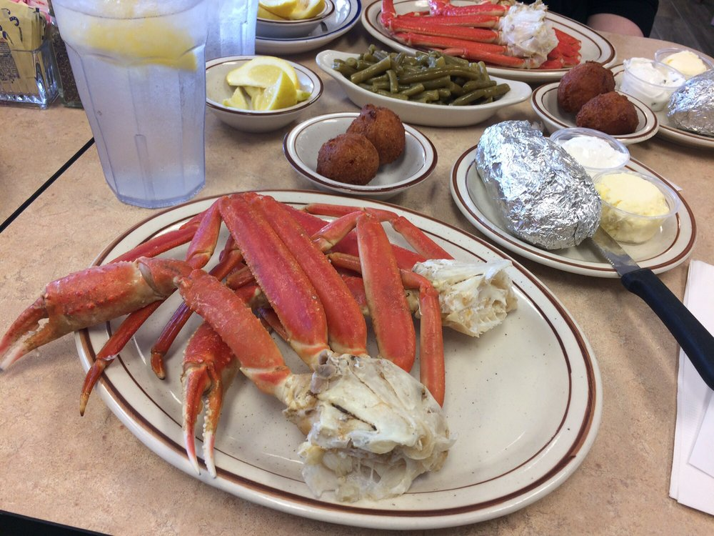 Alaskan crab leg dinner tasty baked potato and for White river fish market
