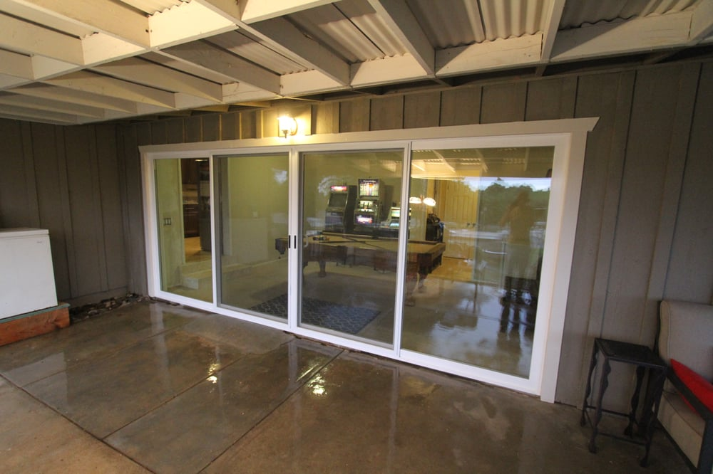 16 ft milgard 4 panel sliding glass door conversion this for Six foot sliding glass door