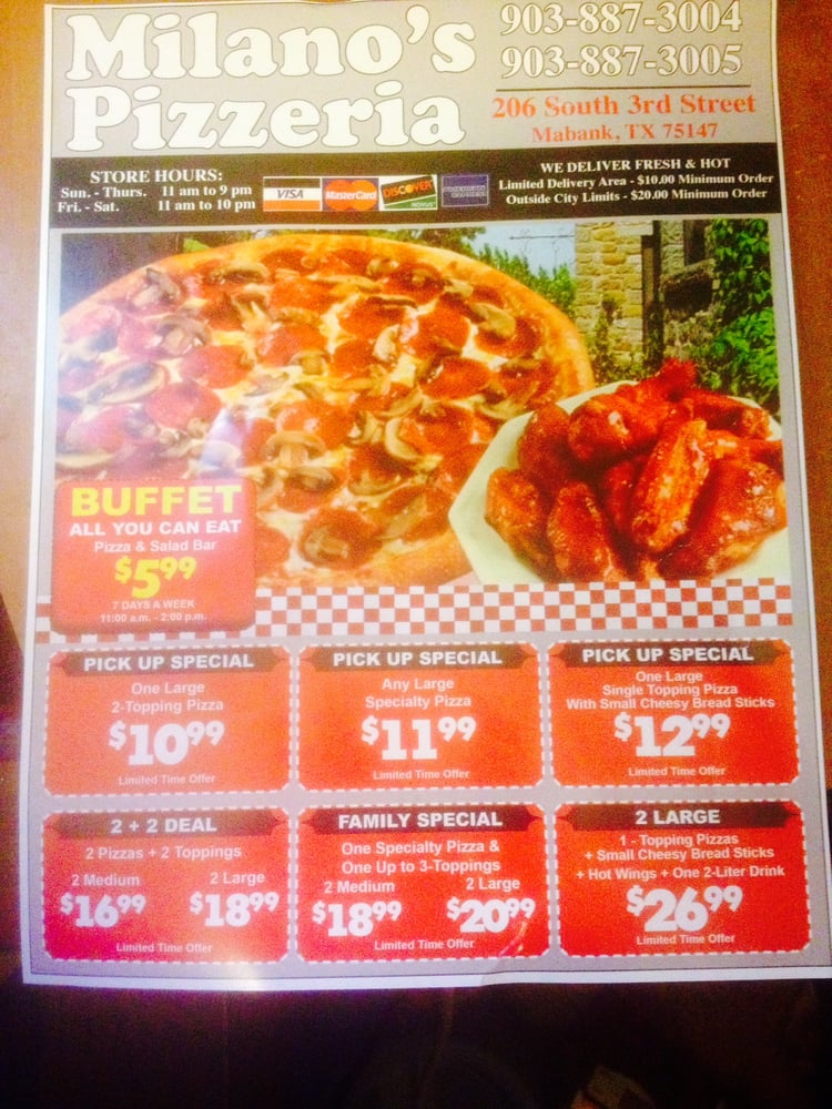 Milano's Pizzeria: 206 S 3rd St, Mabank, TX