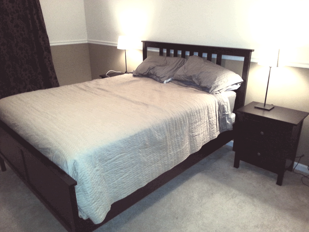 Hemnes queen bed frame and 2 drawer chest Yelp