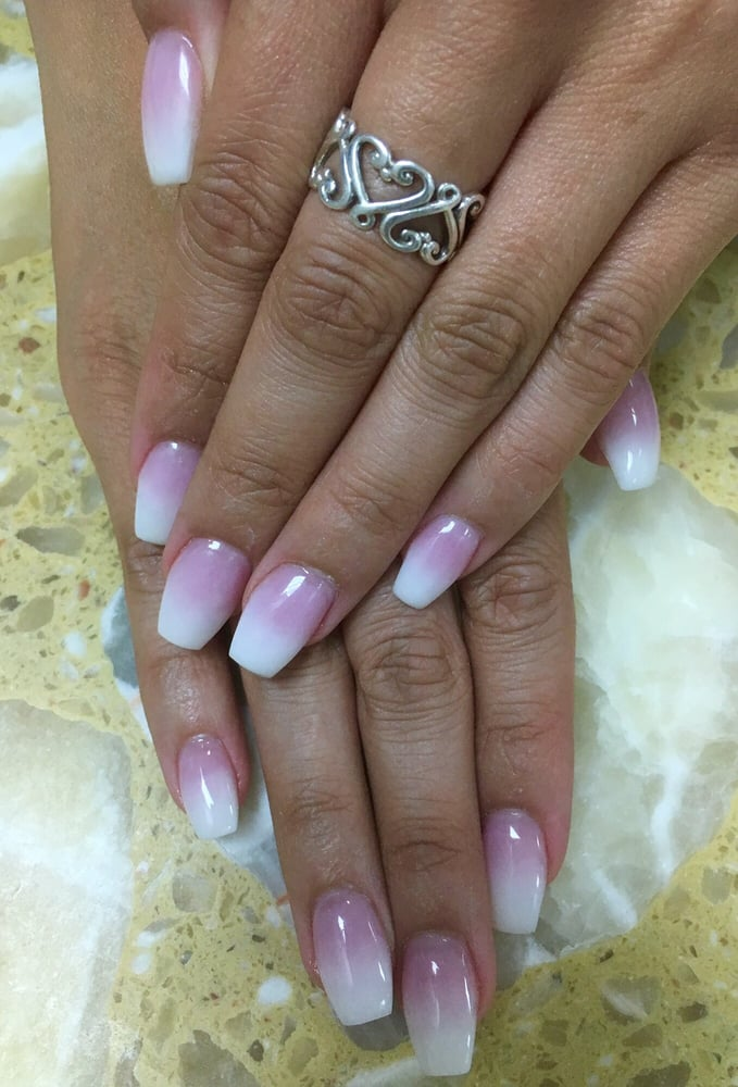 Ombré nails with pink n white powder - Yelp