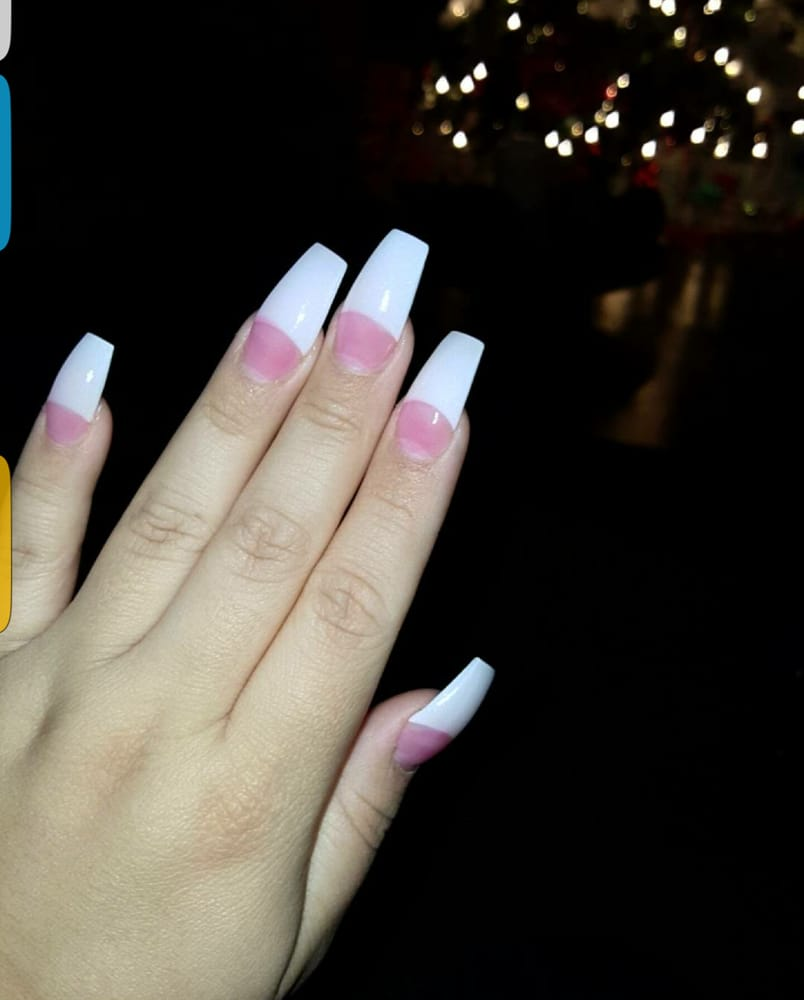 love my nails!! French tip coffin shaped nails (: always doing their ...