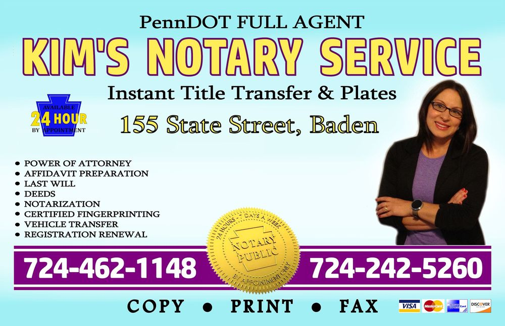 Kim's Mobile Notary Services: 155 State St, Baden, PA