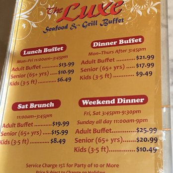 image regarding Luxe Buffet Ontario Printable Coupon identified as Luxe buffet price ranges : Decatur dmv