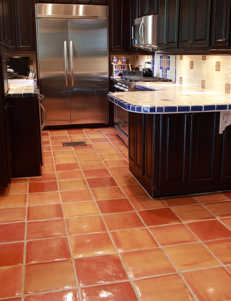 Saltillo Floor Tile With Talavera Tile Counter Tops And Backsplash
