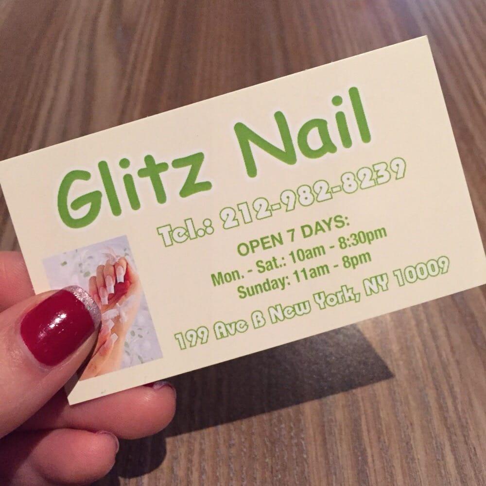 Glitz Nail business card - Yelp