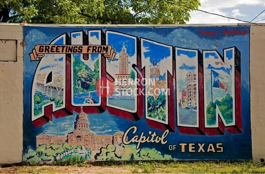 Greetings from austin capital of texas postcard mural a for Austin postcard mural