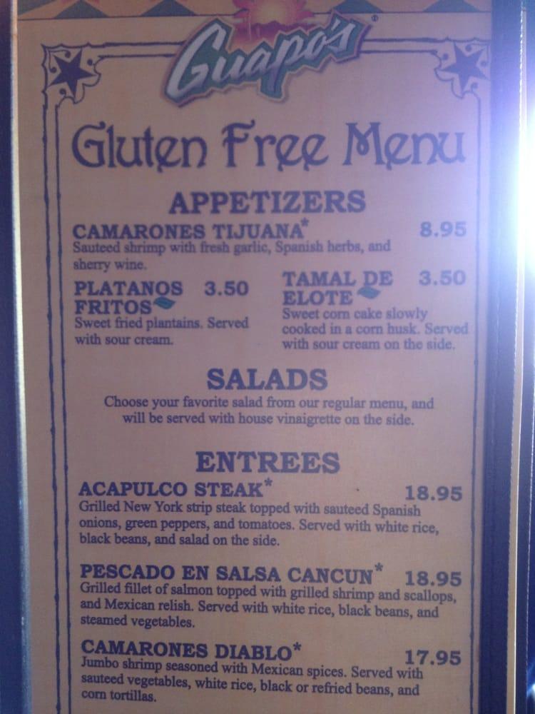 Photo Of Guapo S Restaurant Arlington Va United States Gluten Free Menu