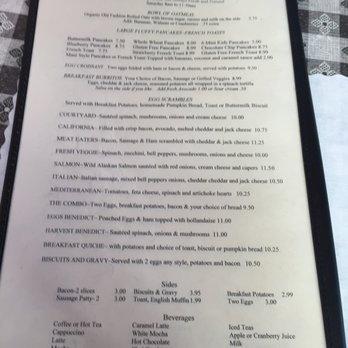 Tonis courtyard cafe menu