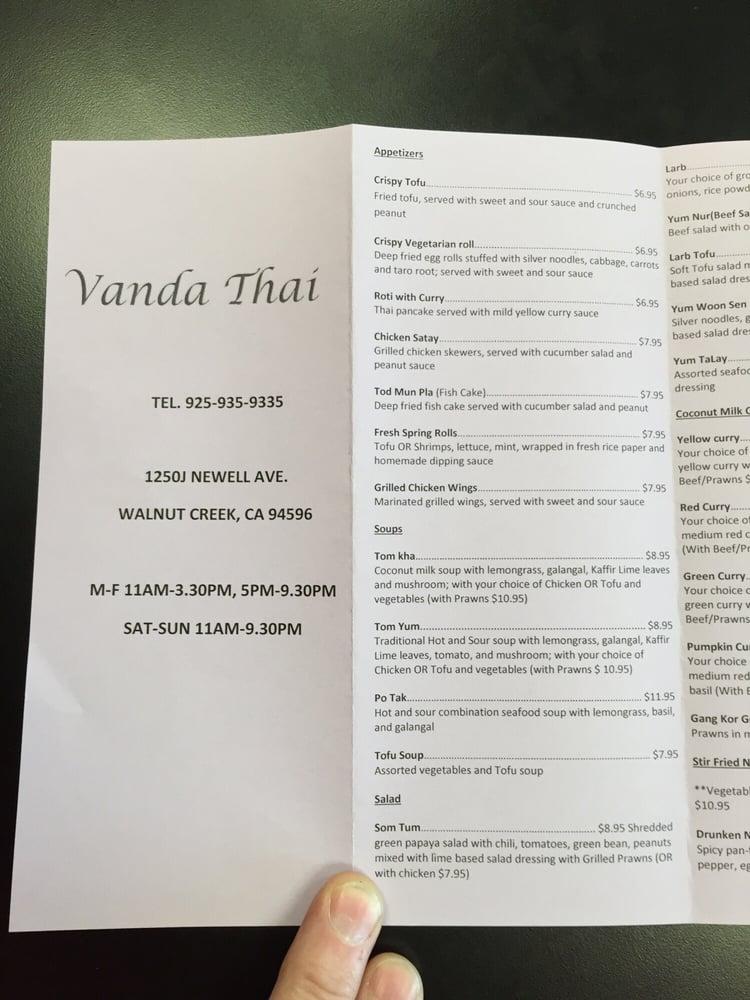 Vanda S Thai Kitchen Menu