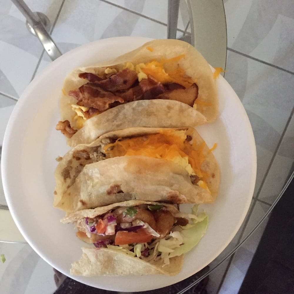 Fish taco sausage egg and cheese bacon egg and cheese for Fish tacos near my location
