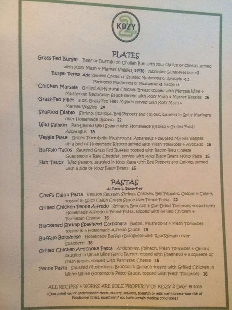 Kozy Kitchen Dallas Menu