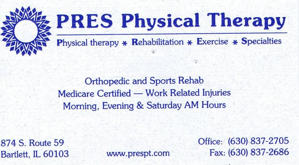 PRES Physical Therapy: 874 S Il Rt 59, Bartlett, IL