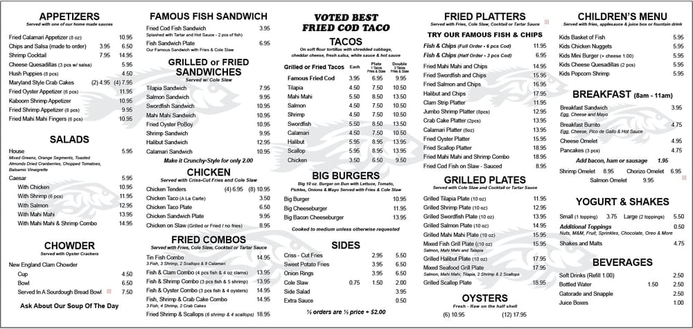 Tin fish oceanside menu featuring their famous fish n for Oceanside fish report