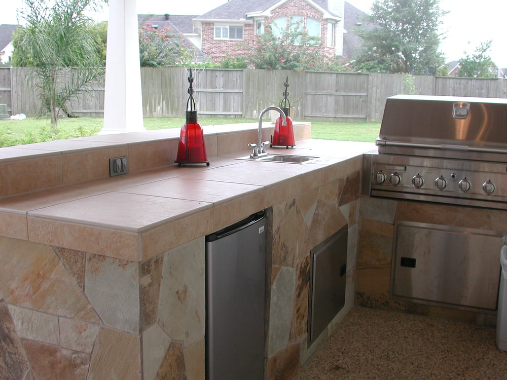 Outdoor Kitchen And Covered Patio Roof Extension From Garage Yelp