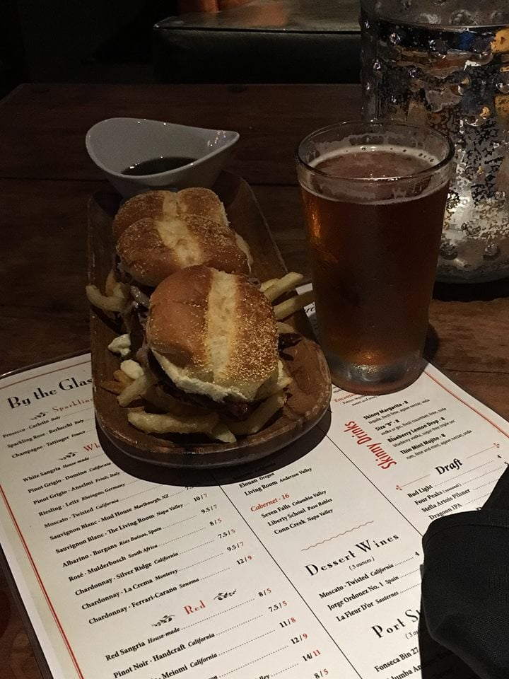 Prime Rib Sliders Plate And A Beer Yelp
