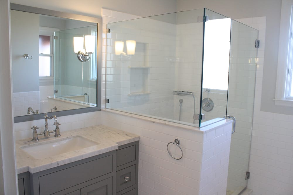 Bathroom remodel with frameless shower enclosure carrera for Bathroom remodel 94112