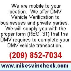 Mike's Vin Check - Car Inspectors - La Grange, CA - Phone