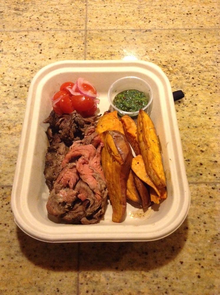 ... United States. Beef chimichurri with sweet potatoes and tomato salad
