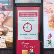 Outer Window Ad help Photo of Serenity Massage - Tacoma, WA, United States.  We open from 10am