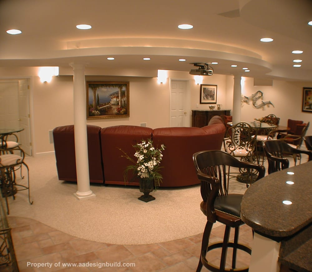Custom Design And Remodeling Finished Basement With Home Theater Wet Bar N