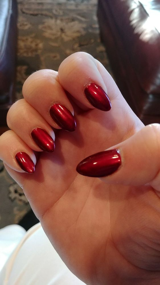 Stiletto Nails in a Christmas red. 12/15/17 - Yelp
