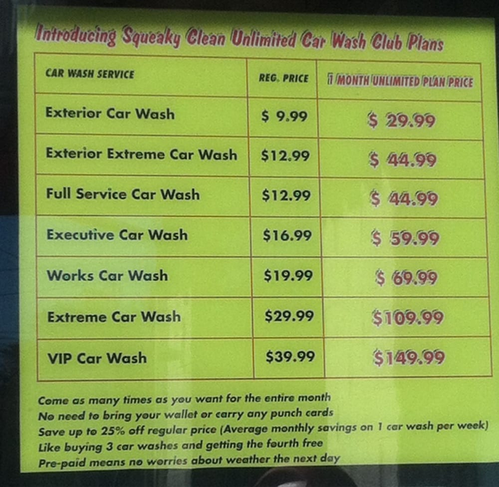 Squeaky S Car Wash Prices