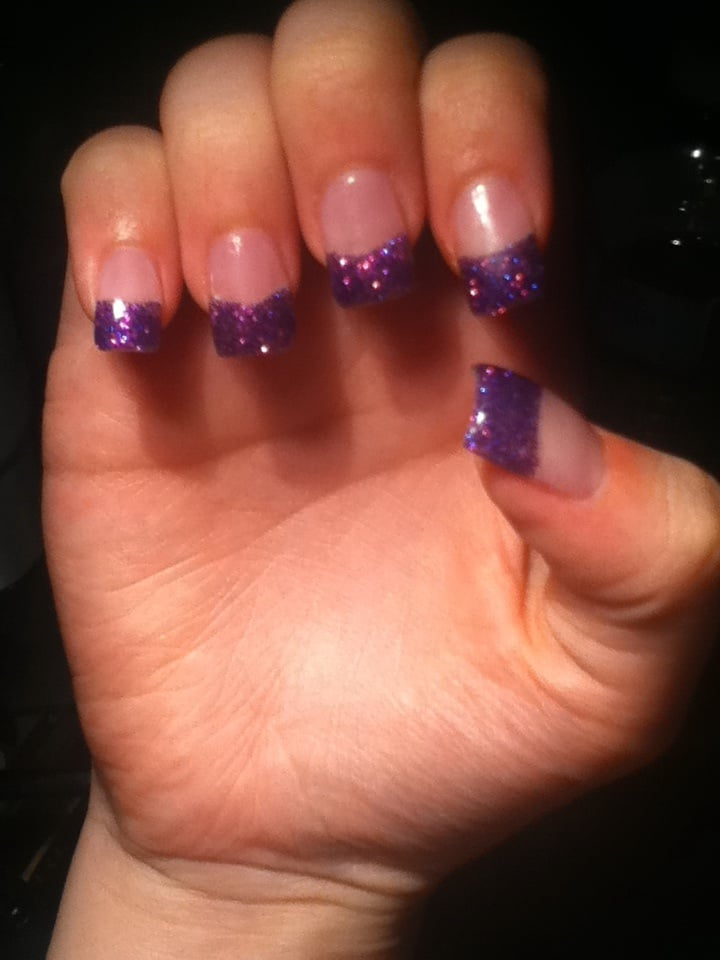 Modern Nails And Spa: New Set Of Nails On (8/4) . Purple Tips $28 (w/shiny Coat