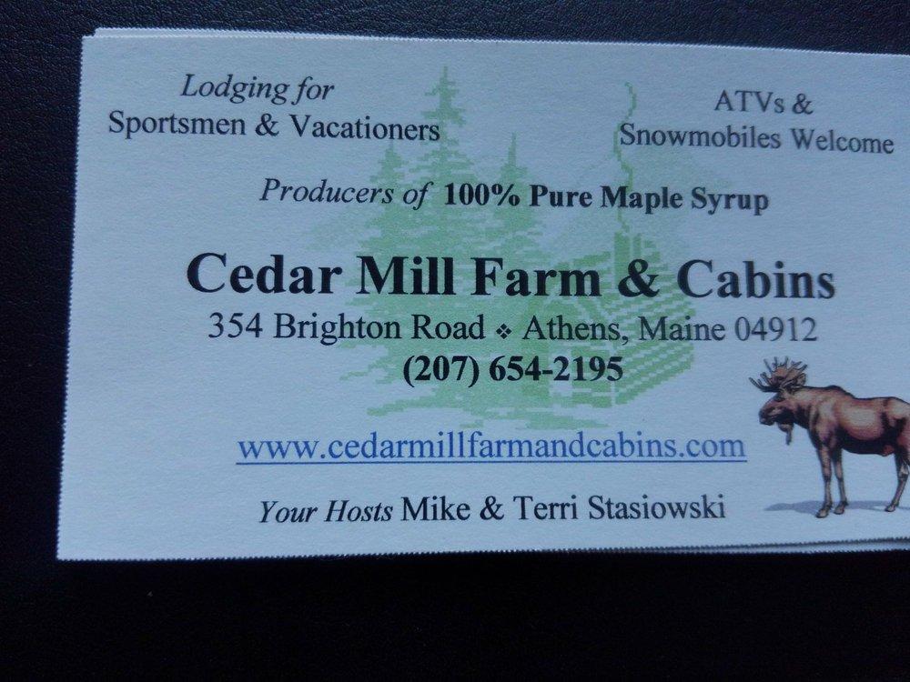 Cedar Mill Farm & Cabins: 354 Brighton Rd, Athens, ME