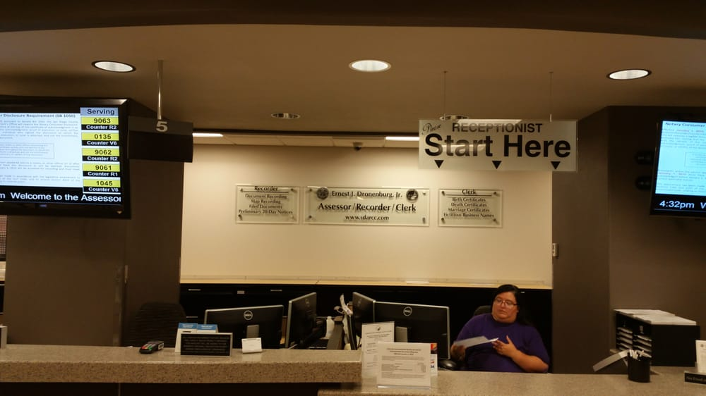 Assessor/Recorder/County Clerk: 1600 Pacific Hwy, San Diego, CA