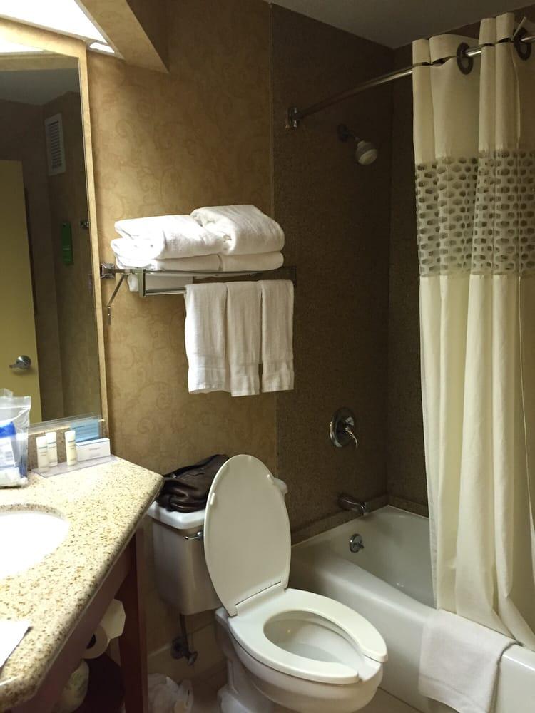 Super dark bathroom. Really dark over by the shower. Only 1 filtered ...