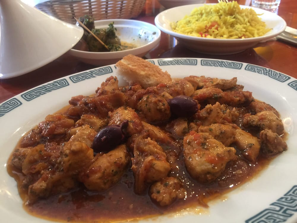 Chicken kabob maghdour and saffron rice yelp for Aicha moroccan cuisine san francisco