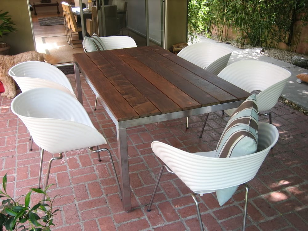 Stainless Steel Outdoor Table With Ipe Wood Top Size 38
