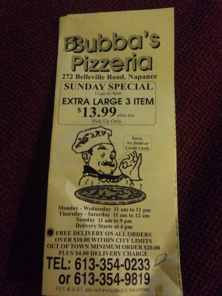 Bubba's Pizzeria & Restaurant - Pizza - 272 Belleville Road, Napanee