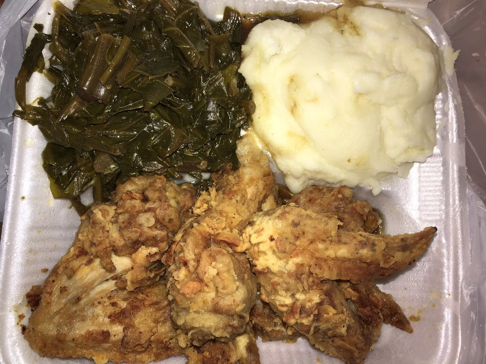 My chicken wings mashed potatoes and greens didnt have much photo of gran grans catfish and soul food red oak tx united states forumfinder Choice Image