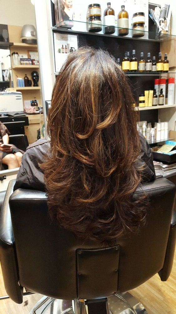 Natural Looking Golden Highlights On Dark Brown Hair Yelp