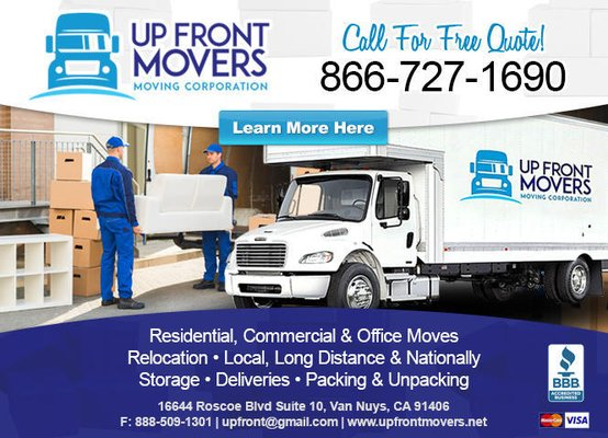 Up Front Movers 16644 Roscoe Blvd Van Nuys, CA Furniture Movers   MapQuest