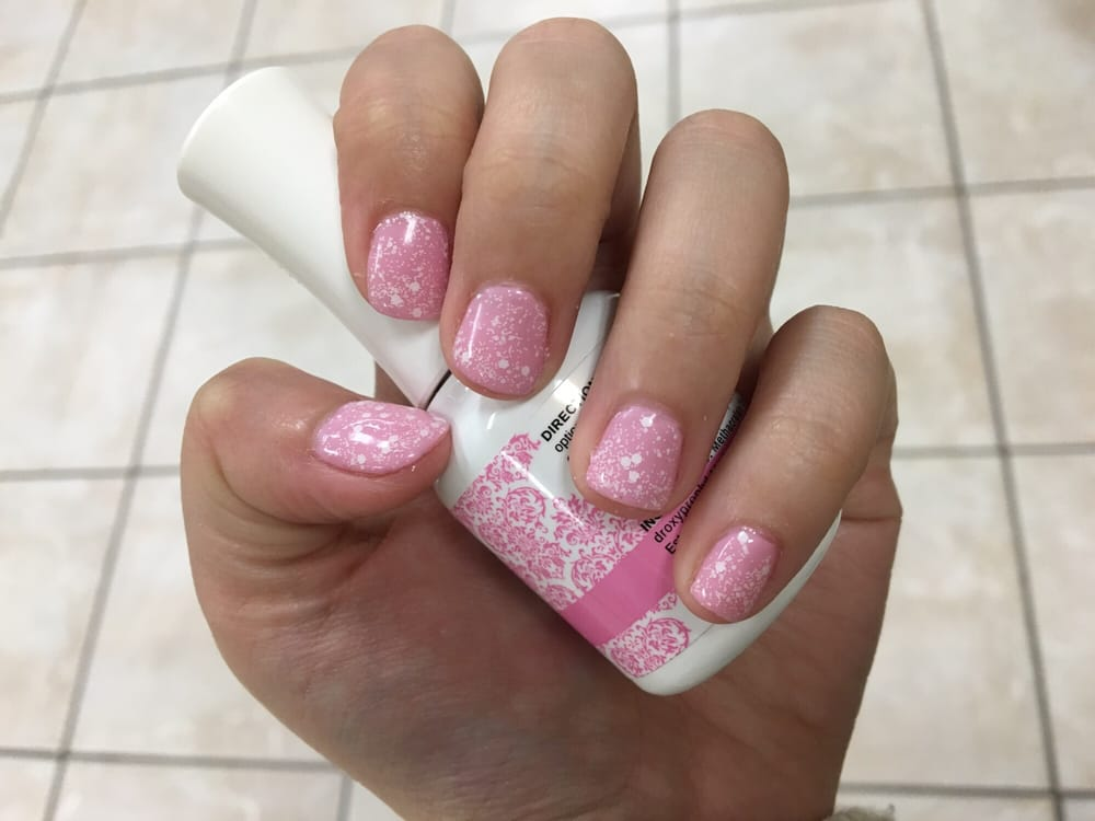 Light pink with snow glitter shellac so pretty yelp for Euphoria nail salon